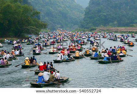 Ninh Binh, Vietnam, June 23, 2015 Ecotourism Zone, Trang An Ninh Binh. recognized world natural heritage. many tourists sailing tour