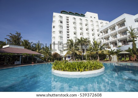 NINH THUAN,VIETNAM -AUGUST 19, 2016:Swimming pool of Saigon Ninh Chu Resort on Phan Rang Beach,, Ninh Thuan, Vietnam