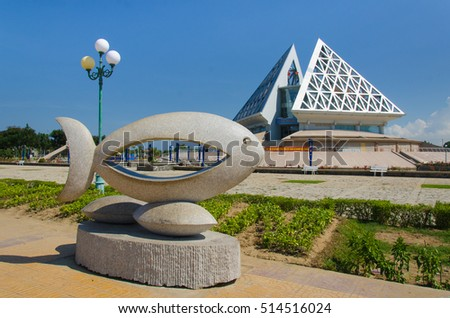 NINH THUAN. VIETNAM, SEP 2nd, 2016 A sculpture is in front of Ninh Thuan museum at Phan Rang - Thap Cham city. This is a popular destination for foreigner at Ninh Thuan.