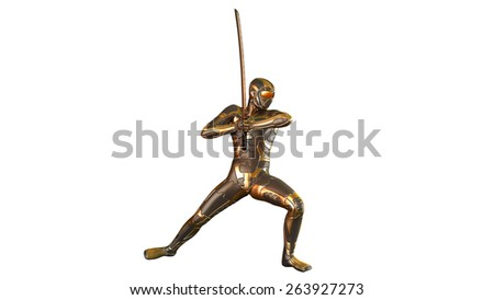 Ninja warrior with katana sword in gold armor, isolated on white background