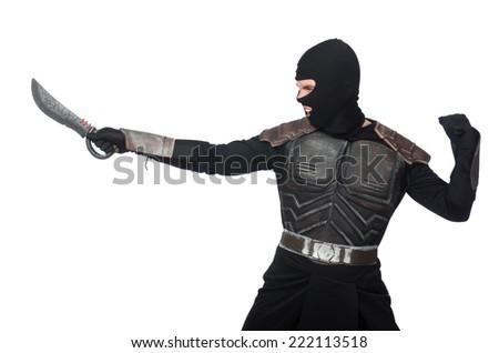 Ninja with knife isolated on white - stock photo