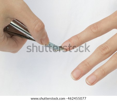 Nippers for manicure on a white background