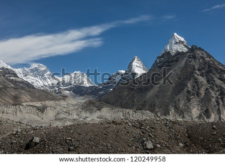 Nirekha (6169 m), Kangchung (6062 m), and Chola (6069 m) in the area of Cho Oyu - Gokyo region, Nepal