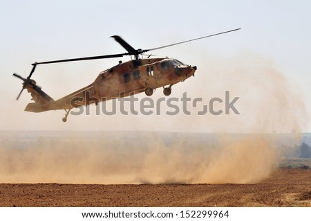 NIRIM, ISR - JUNE 11:Israeli Sikorsky UH-60 Black Hawk helicopter on June 11 2008.More than 2,000 UH-60 Black Hawk helicopter variants are in service with the US Military and more than 600 exported. - stock photo