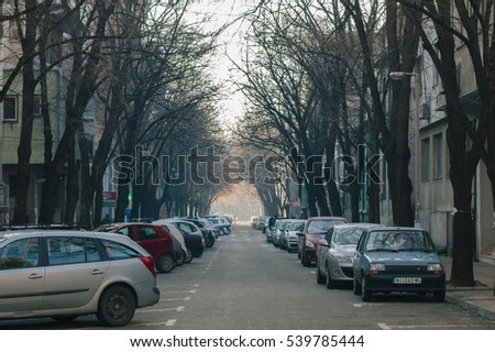 NIS, SERBIA, January 14 2015, Parking lot in early morning