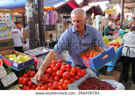 NIS, SERBIA - JUNE 10: People shopping on newly renovated bazaar  on 10th of June, 2015 in Nis,Serbia.