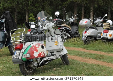 NIS, SERBIA - JUNE 27: Second Vespa gathering under name  'VESPA DRIVERS OF THE WORLD UNITE' on 27th jun 2015 in Nis, Serbia.