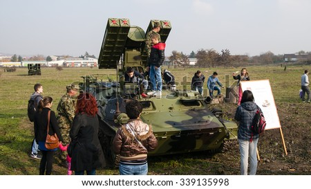Nis, Serbia - November 14, 2015: Celebration of the Army of Serbia in Nis, images of soldiers and combat techniques, to the citizens.