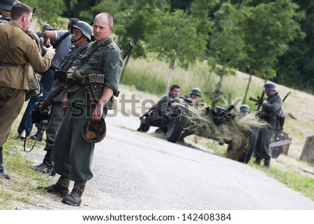 NITRA, SLOVAK REPUBLIC - JUNE 15: Reconstruction of the Second World War operations between Red army and German army on June 15, 2013 in Nitra, Slovak Republic