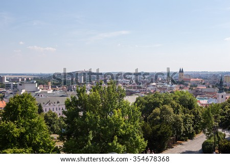 Nitra, Slovakia - August 6, 2015: View of the Nitra city in Slovakia. Nitra has population of about 83.572, it is the fourth largest city in Slovakia.