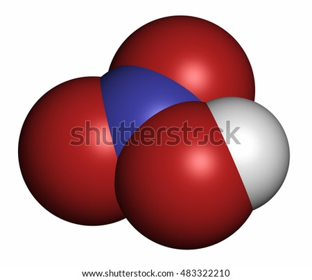 Nitric acid (HNO3) strong mineral acid molecule. Used in production of fertilizer and explosives. 3D rendering. Atoms are represented as spheres with conventional color coding.