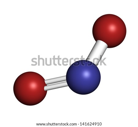 Nitrite (NO2-) anion. Nitrite salts are used in the curing of meat. Atoms are represented as spheres with conventional color coding: nitrogen (blue), oxygen (red).