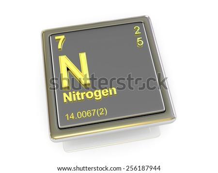 Nitrogen. Chemical element. 3d - stock photo