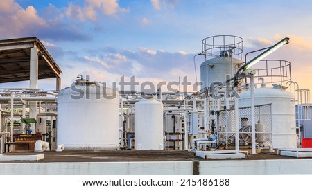 Nitrogen chemical plant for factory  - stock photo