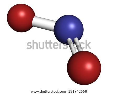Nitrogen dioxide (NO2, NOx) toxic gas and air pollutant, molecular model. Atoms are represented as spheres with conventional color coding: oxygen (red), nitrogen (blue) - stock photo