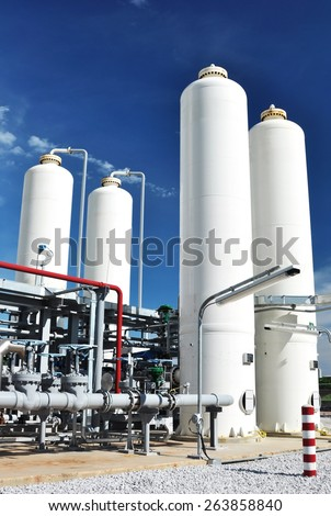 Nitrogen storage tank, Industrial storehouses - stock photo