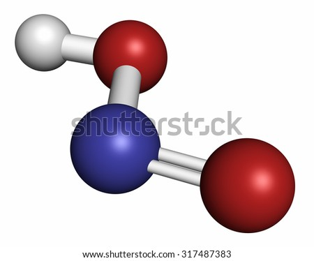 Nitrous acid (HNO2) mineral acid molecule. Atoms are represented as spheres with conventional color coding: hydrogen (white), oxygen (red), nitrogen (blue).