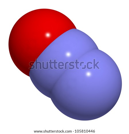 Nitrous oxide (N2O, laughing gas, sweet air) molecule, chemical structure. This gas is used in medicine for its anesthetic and analgesic effects. N2O is also an important greenhouse gas.