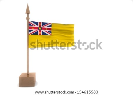 niue waving flag isolated on white