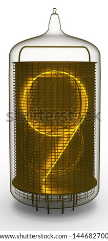 nixie tube indicator 9 - stock photo
