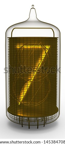 nixie tube indicator 7 - stock photo