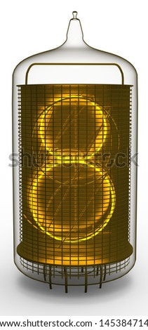 nixie tube indicator 8 - stock photo