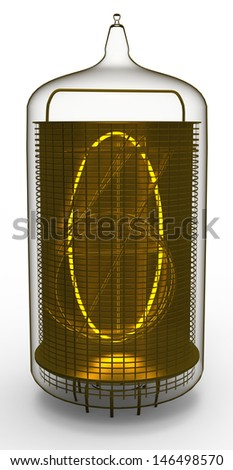 nixie tube indicator 0 - stock photo