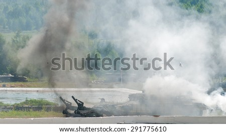 Nizhniy Tagil, Russia - July 12. 2008: Display of fighting opportunities of arms and military equipment. BMR-3M armoured deminer to demine pathways for convoy - stock photo