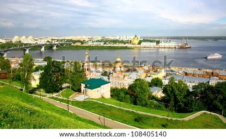 Nizhny Novgorod panoramic cityscape in the morning of july - stock photo