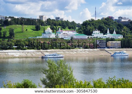Nizhny Novgorod, Russia, August 12, 2015: Church on the banks of the Oka River. In Nizhny Novgorod, a lot of churches and monasteries - stock photo