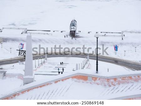 Nizhny Novgorod, Russia - January 03: Chkalov staircase in Nizhny Novgorod, Russia on January 03, 2015. It is the longest flight of stairs and the landmark of the city. - stock photo