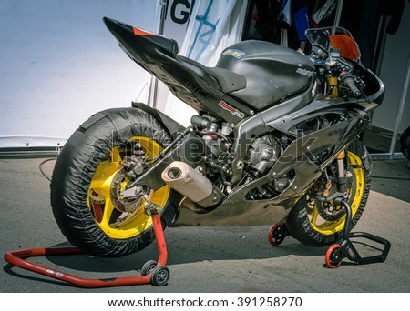NIZHNY NOVGOROD, RUSSIA - JULY 14, 2013:  Open competition in races on sports bikes. Sport bikes close up - stock photo