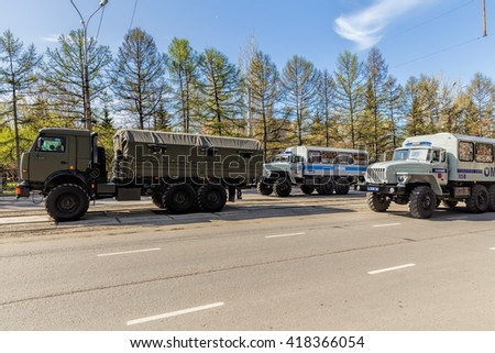 Nizhny Tagil, Russia - May 09, 2016: Armoured vehicles, special purpose police. Victory parade