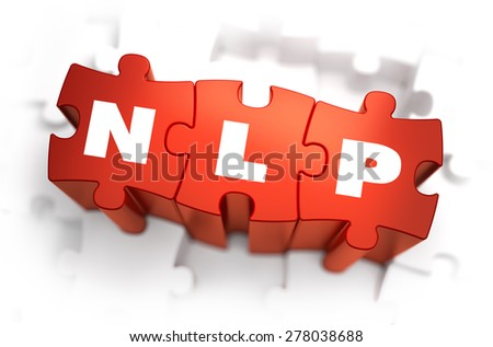 NLP - Neuro Linguistic Programming - White Word on Red Puzzles on White Background. 3D Render.  - stock photo