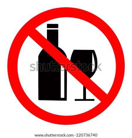 No Alcohol Sign isolated on white background - stock photo