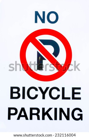 No bicycle parking sign - stock photo