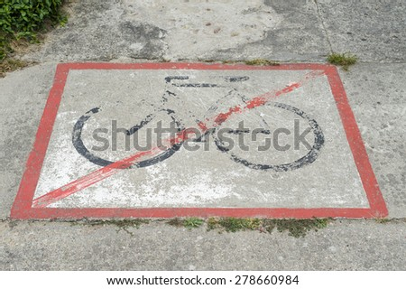 No bicycles allowed road traffic sign. - stock photo