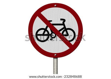 No Bikes Allowed Sign, An red road sign with bike icon and not symbol isolated on white - stock photo