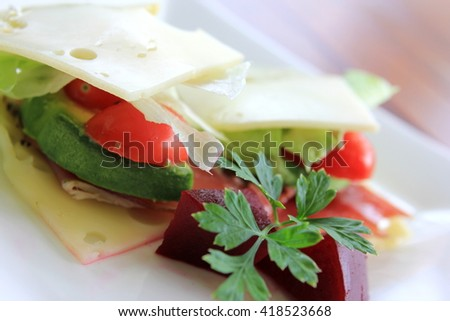 No Bread Sandwich with Pickled Beetroot 3 - stock photo