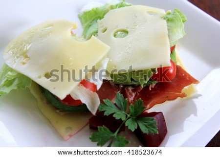 No Bread Sandwich with Pickled Beetroot 4 - stock photo