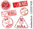 No bull.  Grungy rubber stamp illustrations - stock photo