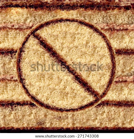 No cake symbol as an eating sweets concept of self control and craving restraint for a healthy food lifestyle by avoiding sugar snacks and high fat baked goods as a pastry with the prohibited icon. - stock photo