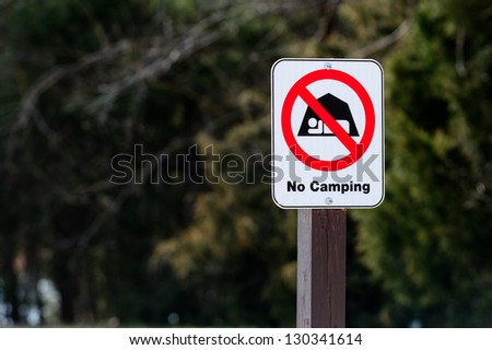 No Camping Sign In A Park