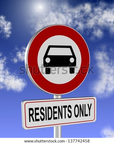 No cars allowed and residents only sign / Residents only - stock photo