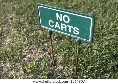 no carts sign on golfcoarse - stock photo