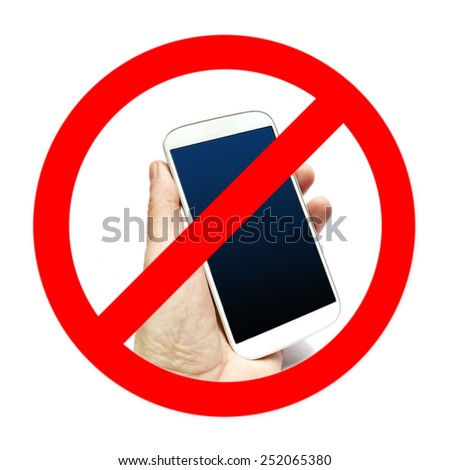No cell phone sign, hand holding cell phone - stock photo