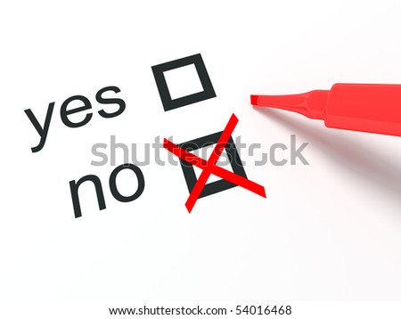 No check-box ticked by red pencil - stock photo