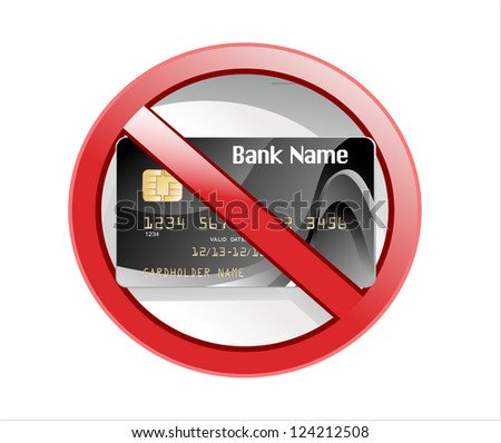 no credit card allowed sign - stock photo