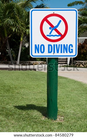 no diving sign on the grass (tropical resort setting with palm trees)