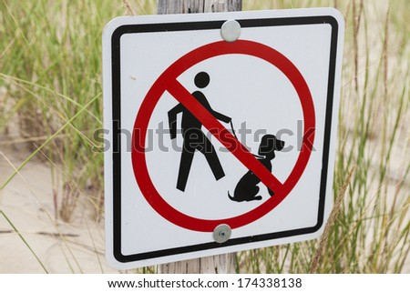 No dogs allowed - sign on the beach in Wisconsin - stock photo
